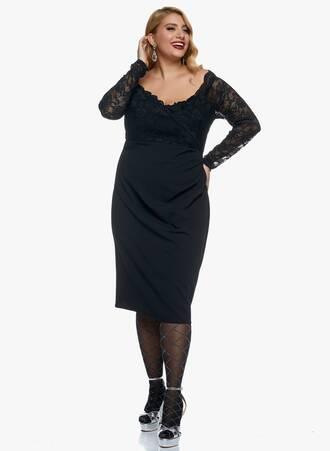 Φόρεμα Μαύρο Midi με Δαντέλα Maniags