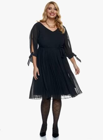 Φόρεμα Μαύρο Σιφόν Πλισέ Maniags