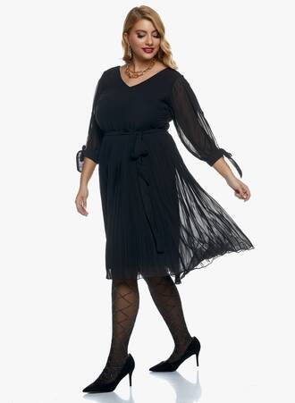 Φόρεμα Μαύρο Σιφόν Πλισέ 2020_11_02_Maniags_0986 Maniags