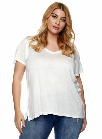 T-shirt Μακρύ Βισκόζης Λευκό Maniags
