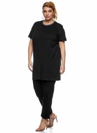Μακρύ T-shirt Μαύρο με Animal Print Λαιμόκοψη 2021_01_25-Maniags1838 Maniags