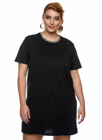Μακρύ T-shirt Μαύρο με Animal Print Λαιμόκοψη Maniags