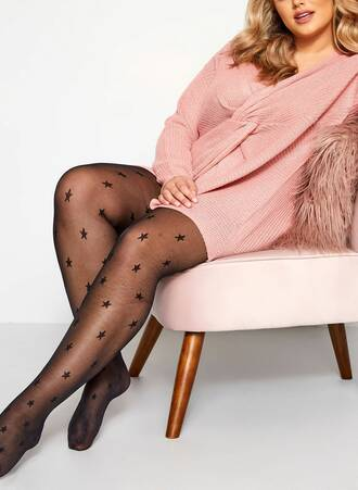 Καλσόν Μαύρο 20 Denier Star Black_Star_Patterned_Tights_153337_0e41 Maniags