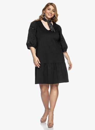 Μαύρο Βαμβακερό Φόρεμα με Λεπτομέρεια στο Μανίκι Maniags