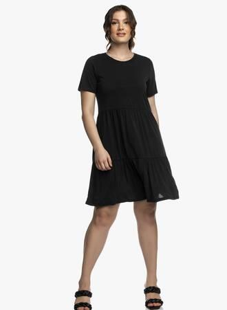 Μαύρο Φόρεμα με Κοντό Μανίκι και Βολάν Maniags