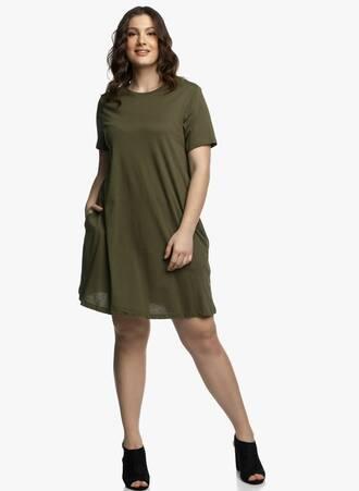 Βαμβακερό Φόρεμα Λαδί σε 'Α' γραμμή Maniags
