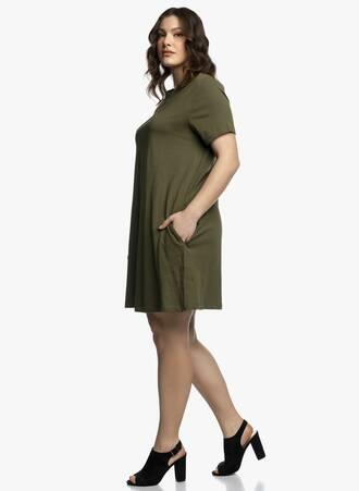 Βαμβακερό Φόρεμα Λαδί σε 'Α' γραμμή 2021_04_27_Maniagz2965-copy Maniags