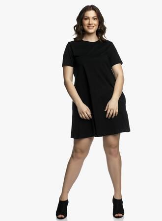 Βαμβακερό Φόρεμα Μαύρο σε 'Α' γραμμή Maniags