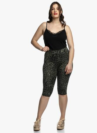 Biker Shorts Animal Print Χακί Maniags