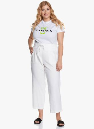 Λινή Παντελόνα Λευκή Maniags