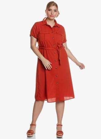 Σεμιζιέ Φόρεμα Midi Πορτοκαλί Maniags