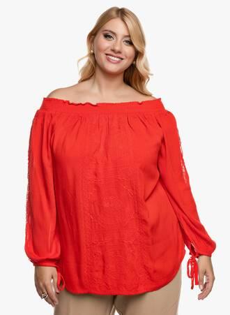 Κόκκινη Έξωμη Μπλούζα Crinkle Maniags