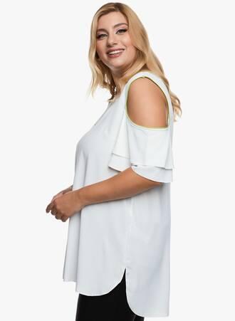 Λευκή έξωμη Μπλούζα με Πράσινες Λεπτομέρειες 2020_09_17-Maniags6109 Maniags
