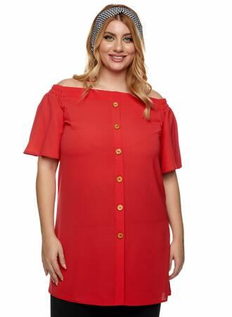 Μπλουζοφόρεμα Bardot Κοραλί Maniags