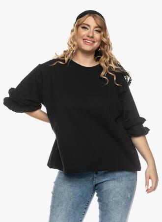 Μπλούζα με Βολάν στο Μανίκι Μαύρη Maniags