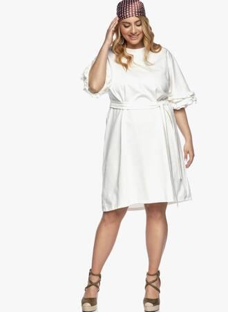Φόρεμα με Βολάν στο Μανίκι Ιβουάρ Maniags