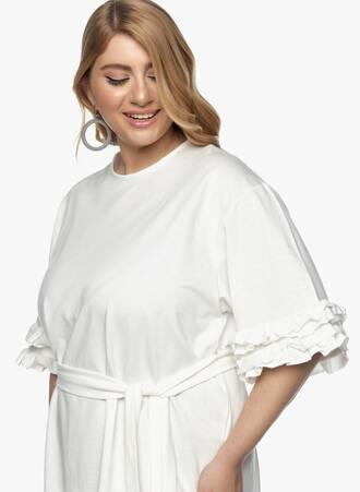 Φόρεμα με Βολάν στο Μανίκι Ιβουάρ 2021_03_30-Maniagz3500 Maniags