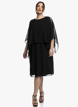 Αμπιγιέ Φόρεμα Ζωρζέτα με Μεταλλική Λεπτομέρεια στο Μανίκι Maniags