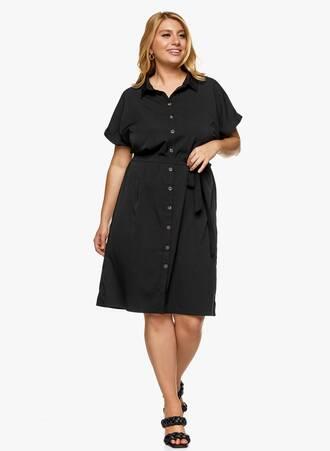 Φόρεμα Σεμιζιέ Μαύρο με Ζωνάκι Maniags