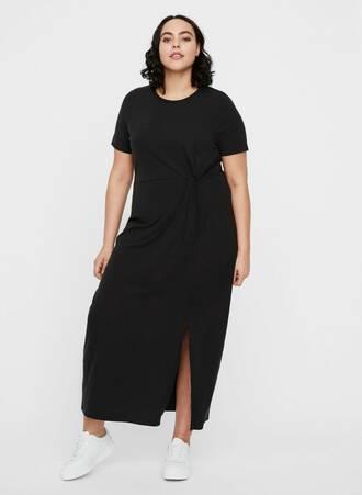 Μάξι Φόρεμα Μαύρο Κοντομάνικο Maniags