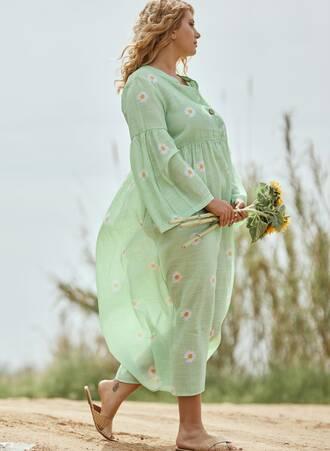 Μάξι Φόρεμα Πράσινο με Μαργαρίτες Maniags
