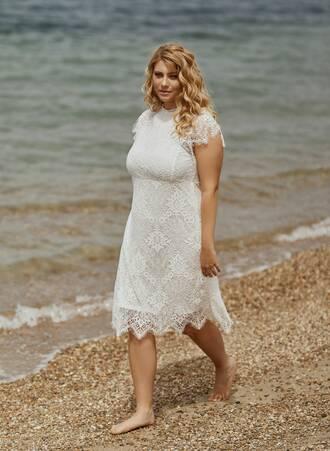 Φόρεμα Δαντέλα Λευκό Maniags