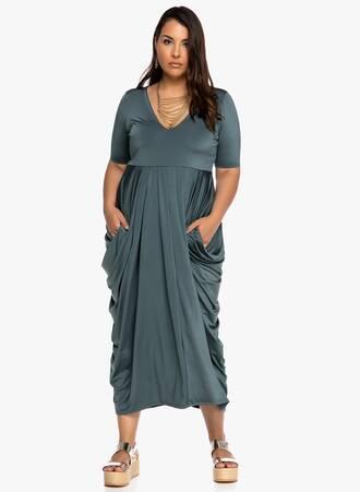 Φόρεμα Πετρόλ Ντραπέ Maniags