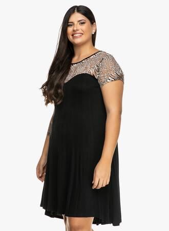 Φόρεμα Μαύρο με Animal Print Ντεκολτέ 2019_09_20-Maniags4235 Maniags