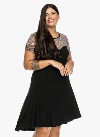 Φόρεμα Μαύρο με Animal Print Ντεκολτέ Maniags