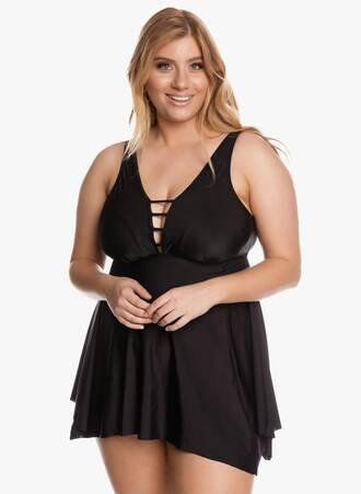 Μαγιό Φόρεμα Ασύμμετρο Μαύρο με Ιδιαίτερο Μπούστο Maniags