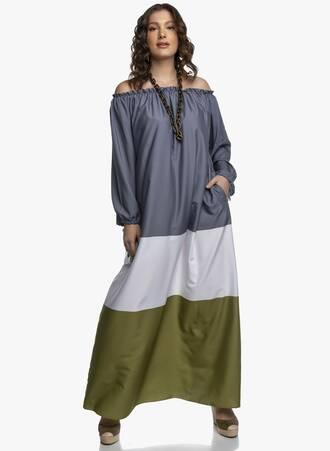 Έξωμο Μάξι Φόρεμα Τρίχρωμο Maniags