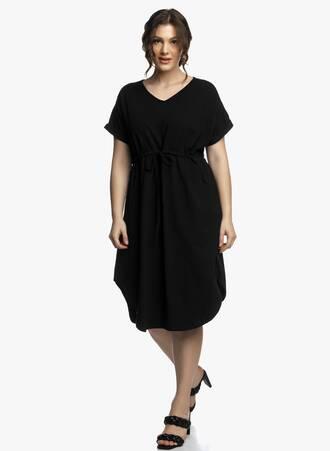 Midi Φόρεμα Μαύρο με Κορδόνι στην Μέση Maniags