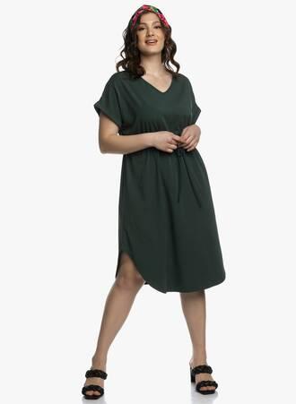 Midi Φόρεμα Χακί με Κορδόνι στην Μέση Maniags