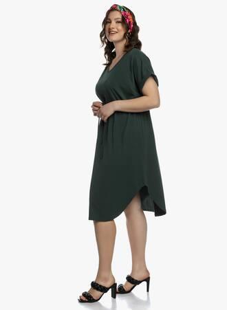 Midi Φόρεμα Χακί με Κορδόνι στην Μέση 2021_04_27_Maniagz2440-copy Maniags