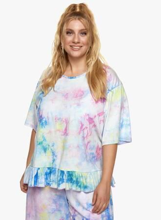 Βαμβακερή Μπλούζα με Βολάν Tie Dye Maniags