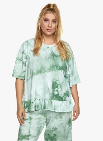 Βαμβακερή Μπλούζα με Βολάν Tie Dye Πράσινο Maniags