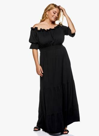 Μάξι Φόρεμα Έξωμο Μαύρο Maniags