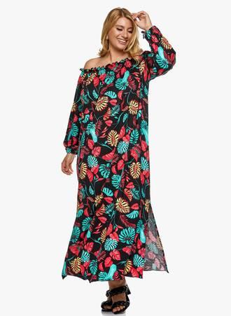 Βαμβακερό Φόρεμα Έξωμο Φλοράλ Maniags