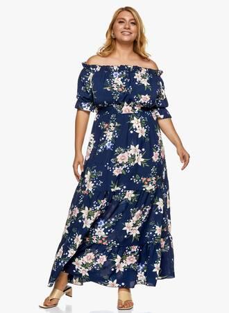 Μάξι Φόρεμα Έξωμο Navy Φλοράλ Maniags