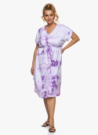 Βαμβακερό Midi Φόρεμα Tie Dye Μωβ Maniags
