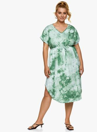 Βαμβακερό Midi Φόρεμα Tie Dye Πράσινο Maniags