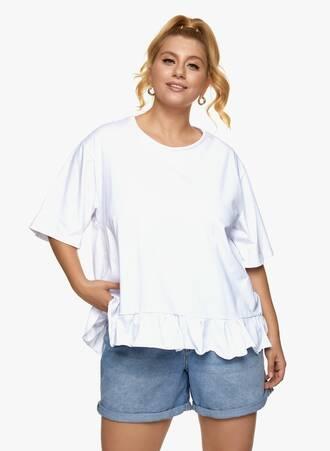 Βαμβακερή Μπλούζα με Βολάν Λευκή Maniags