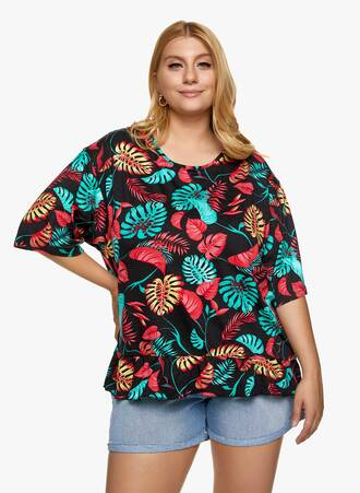 Βαμβακερή Μπλούζα με Βολάν Φλοράλ Maniags