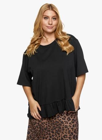 Βαμβακερή Μπλούζα με Βολάν Μαύρη Maniags