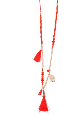 Κολιέ Μακρύ Κόκκινο με Κρυσταλλάκια και Φουντάκια DSC_0629 Maniags