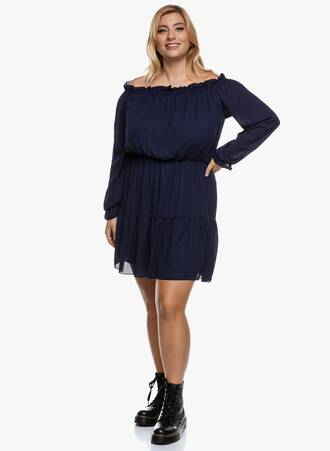 Boho Φόρεμα Bardot Navy Maniags