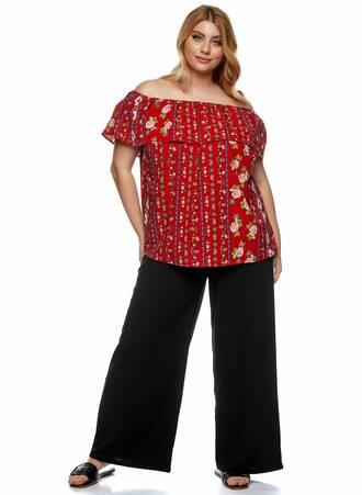 Μπλούζα Έξωμη Κόκκινη Φλοράλ 2021_01_25-Maniags1247 Maniags