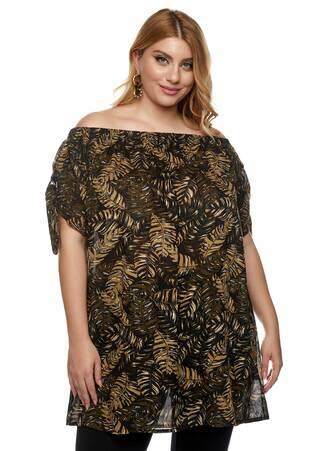 """Έξωμο Μπλουζο-Φόρεμα """"Jungle Leaf Print"""" Maniags"""