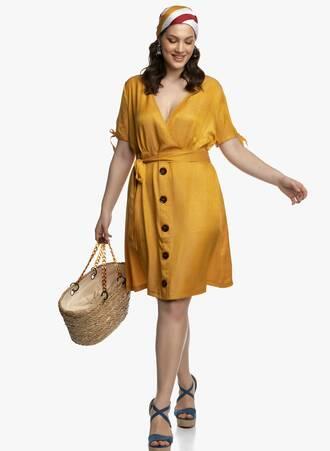 Μουσταρδί Κρουαζέ Φόρεμα Maniags