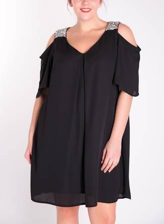 Φόρεμα Μαύρο με Παγιέτα στον Ώμο 50081_2 Maniags